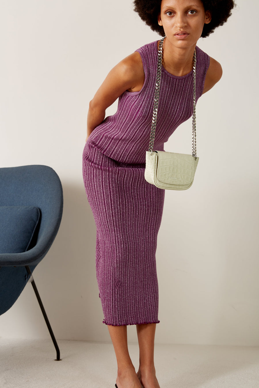 Mini Bend Bag in White Croc