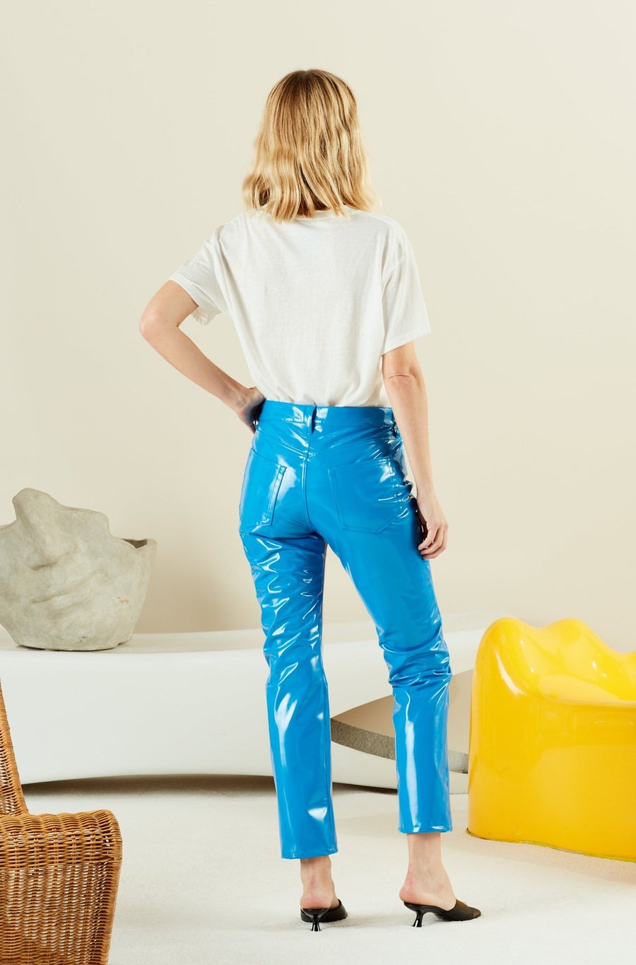 VEGAN LEATHER Straight Leg Pant in Sea Blue
