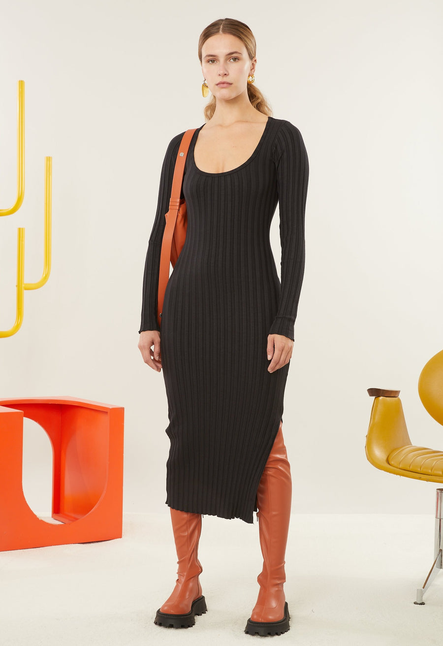 RIB Noah Dress in Black