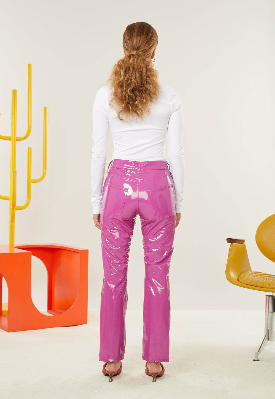 VEGAN LEATHER Straight Leg Pant in Magenta