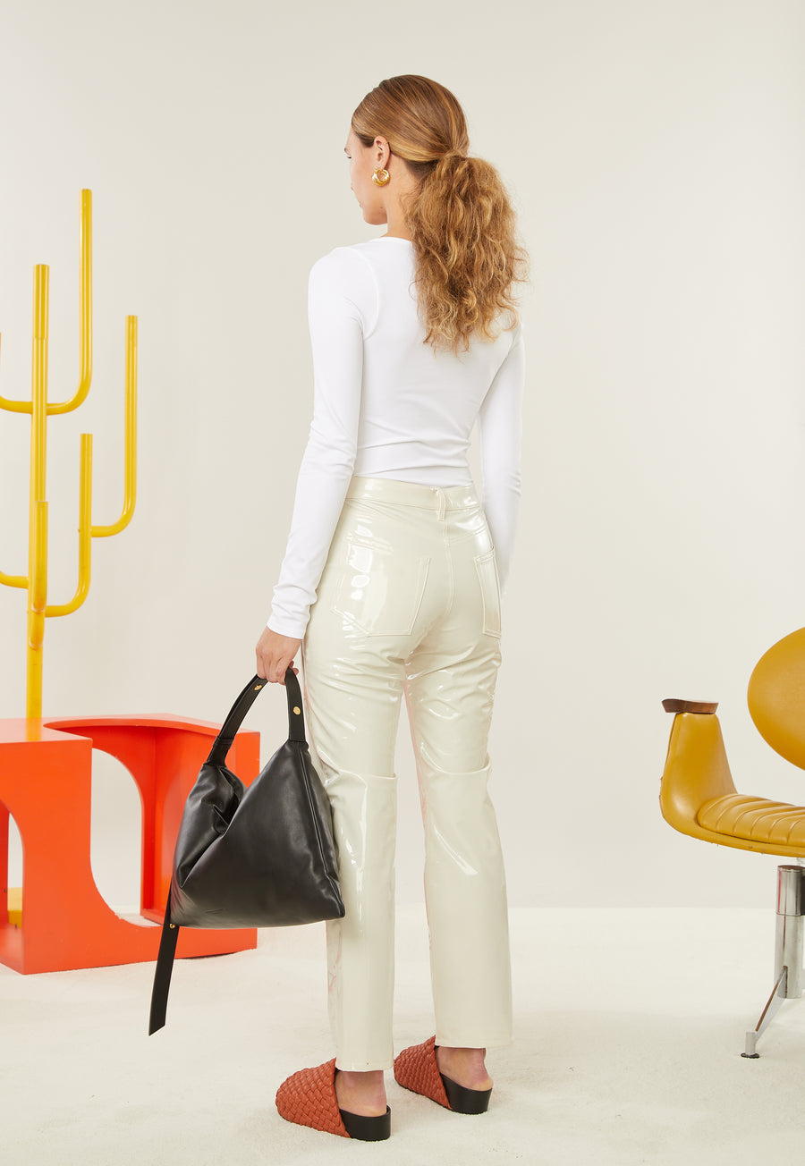 VEGAN LEATHER Straight Leg Pant in Bone