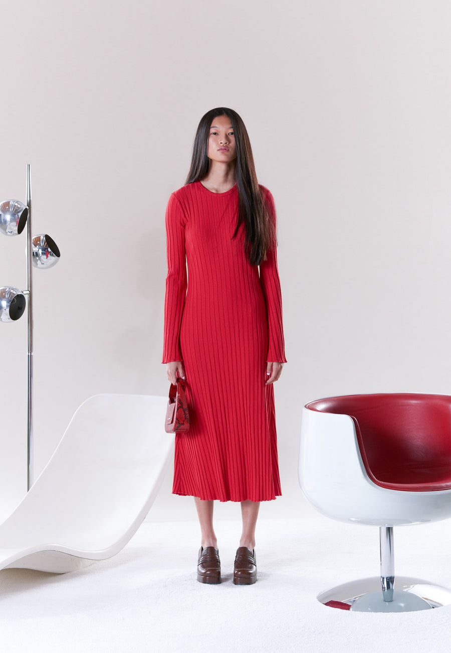 RIB Wells Long Sleeve Dress in Retro Red