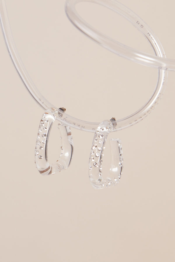 Triangle Hoops in Clear W/ Pave