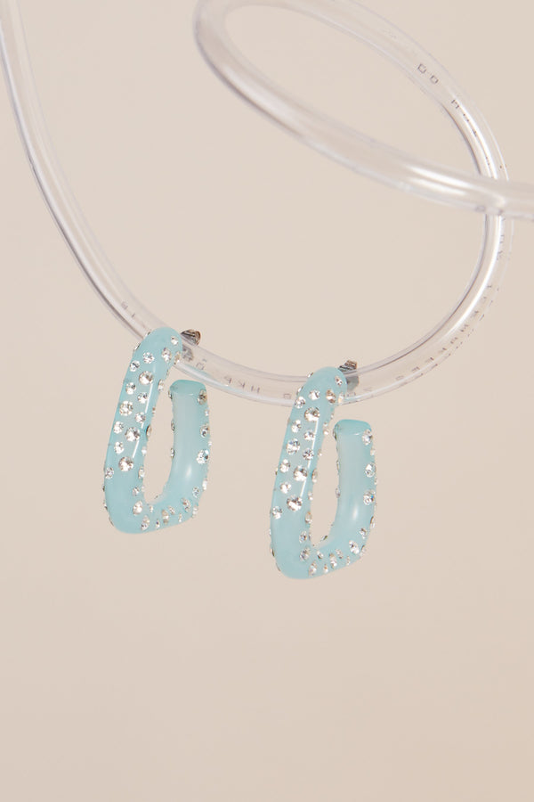 Triangle Hoops in Aqua W/ Pave