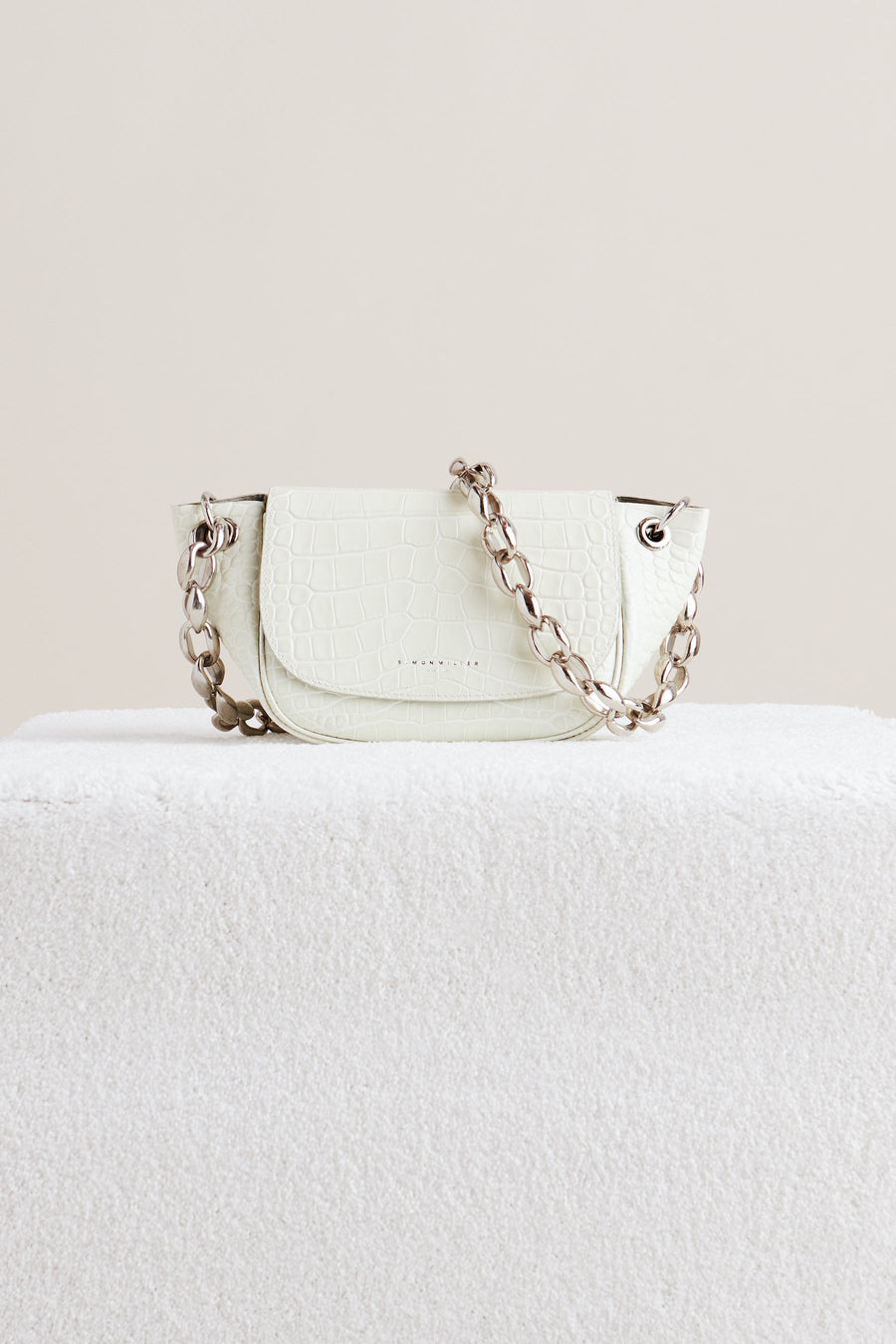 Bend Bag in White Croc