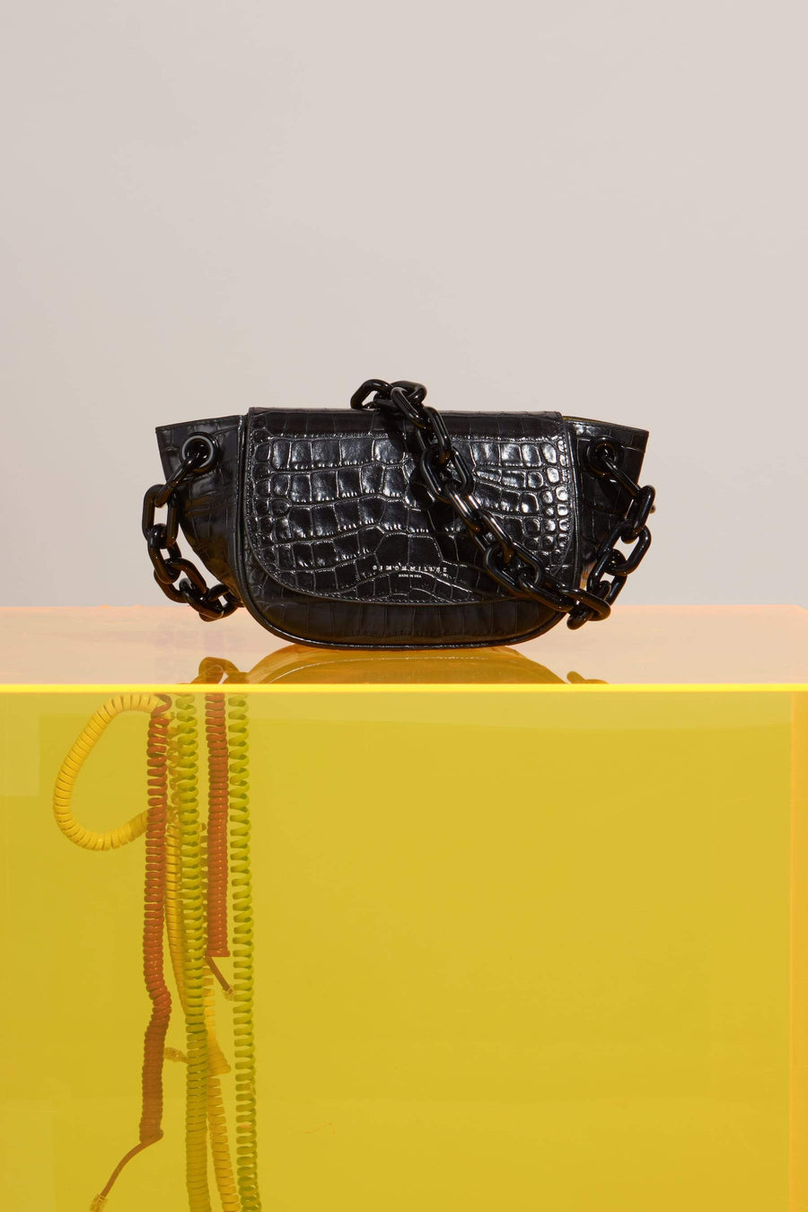 Bend Bag in Black Croc