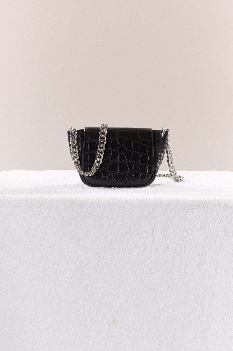 MINI BEND BAG IN BLACK CROC