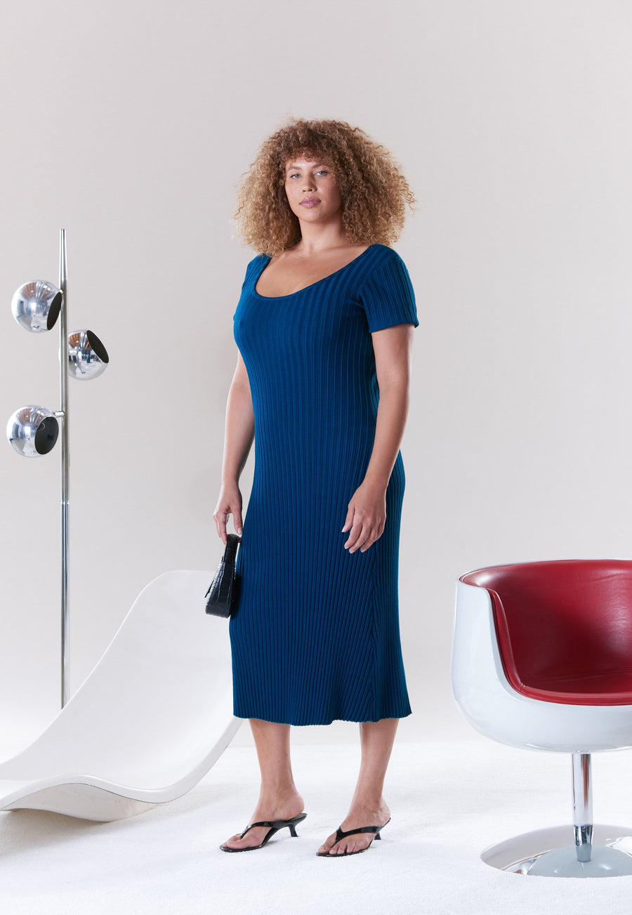 RIB Andros Scoop Neck Dress in True Teal