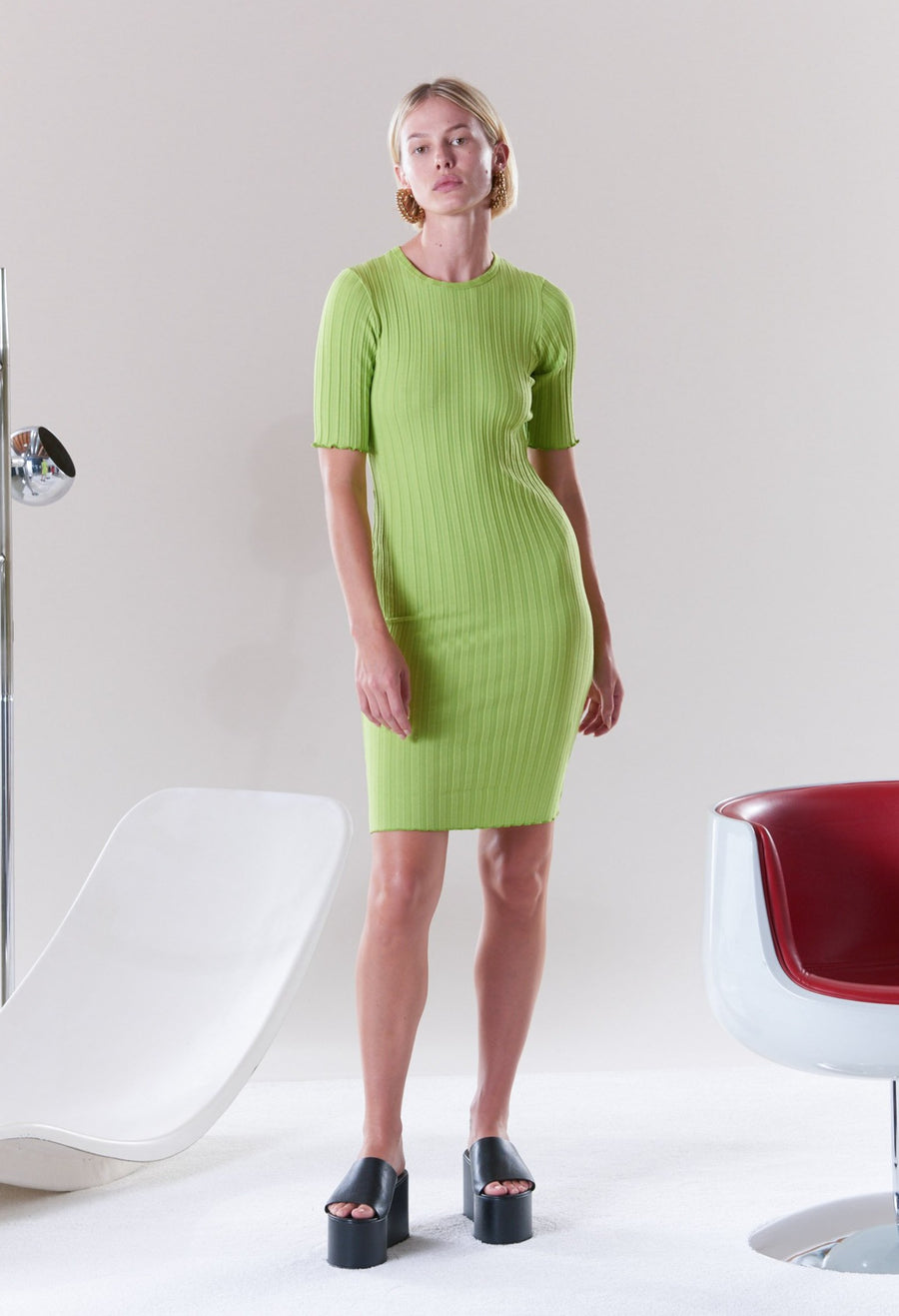RIB Capo Dress in Algae