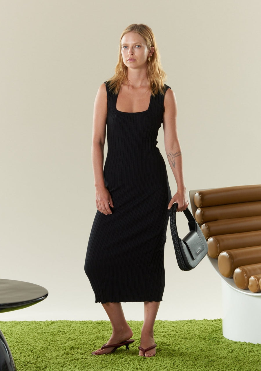 RIB Amos Dress in Black
