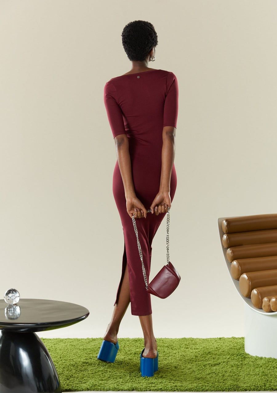 STRETCH Mies Dress in Burgundy