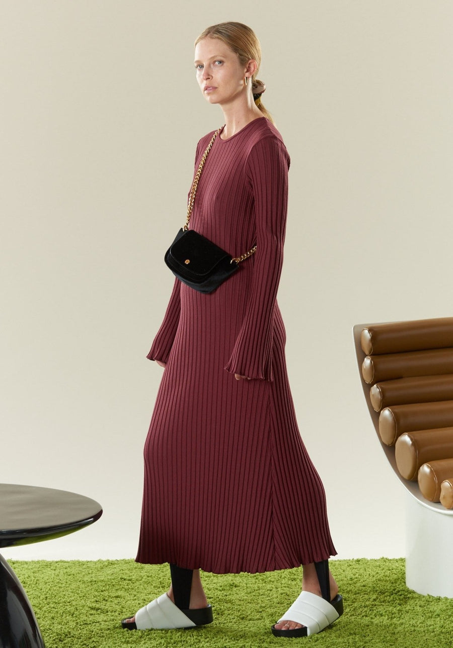 RIB Wells Dress in Burgundy