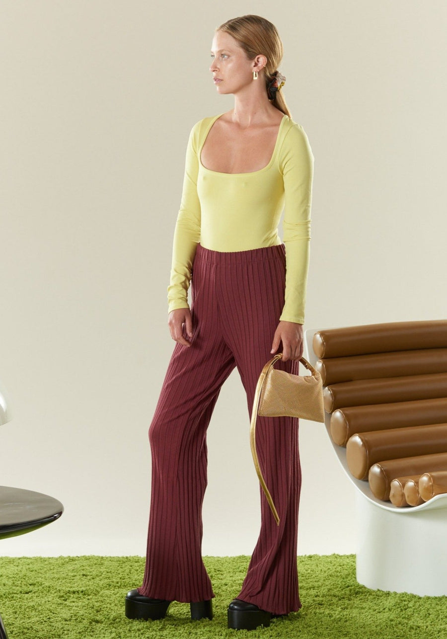 RIB Cyrene Pant in Burgundy