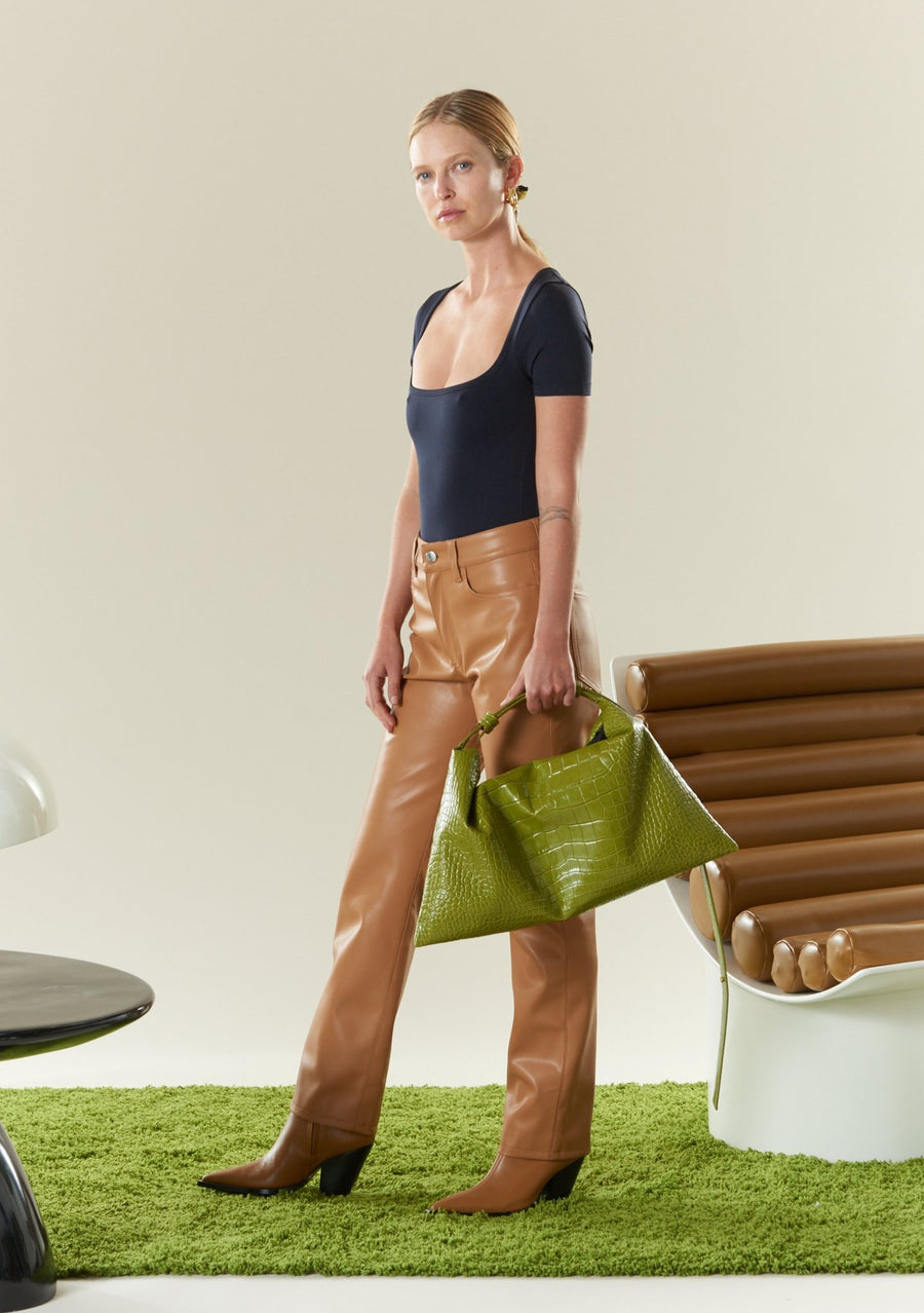 VEGAN LEATHER Straight Leg Pant in Toffee
