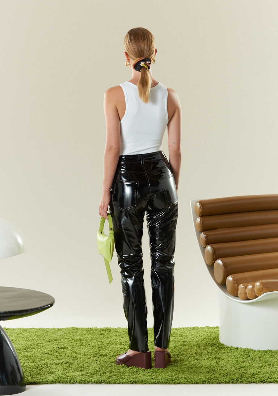 VEGAN LEATHER Straight Leg Pant in Black