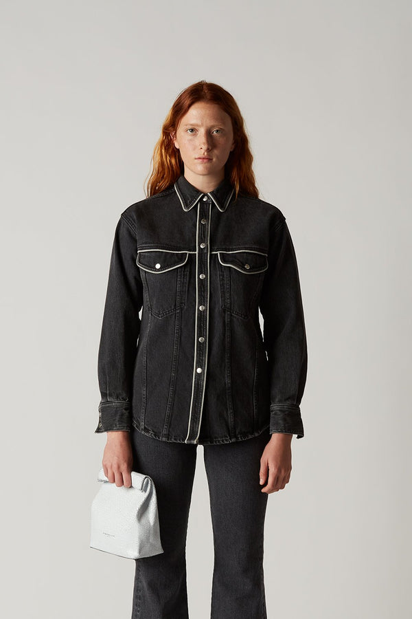 W126 Pipo Denim Shirt in Mid Black Wash Piping