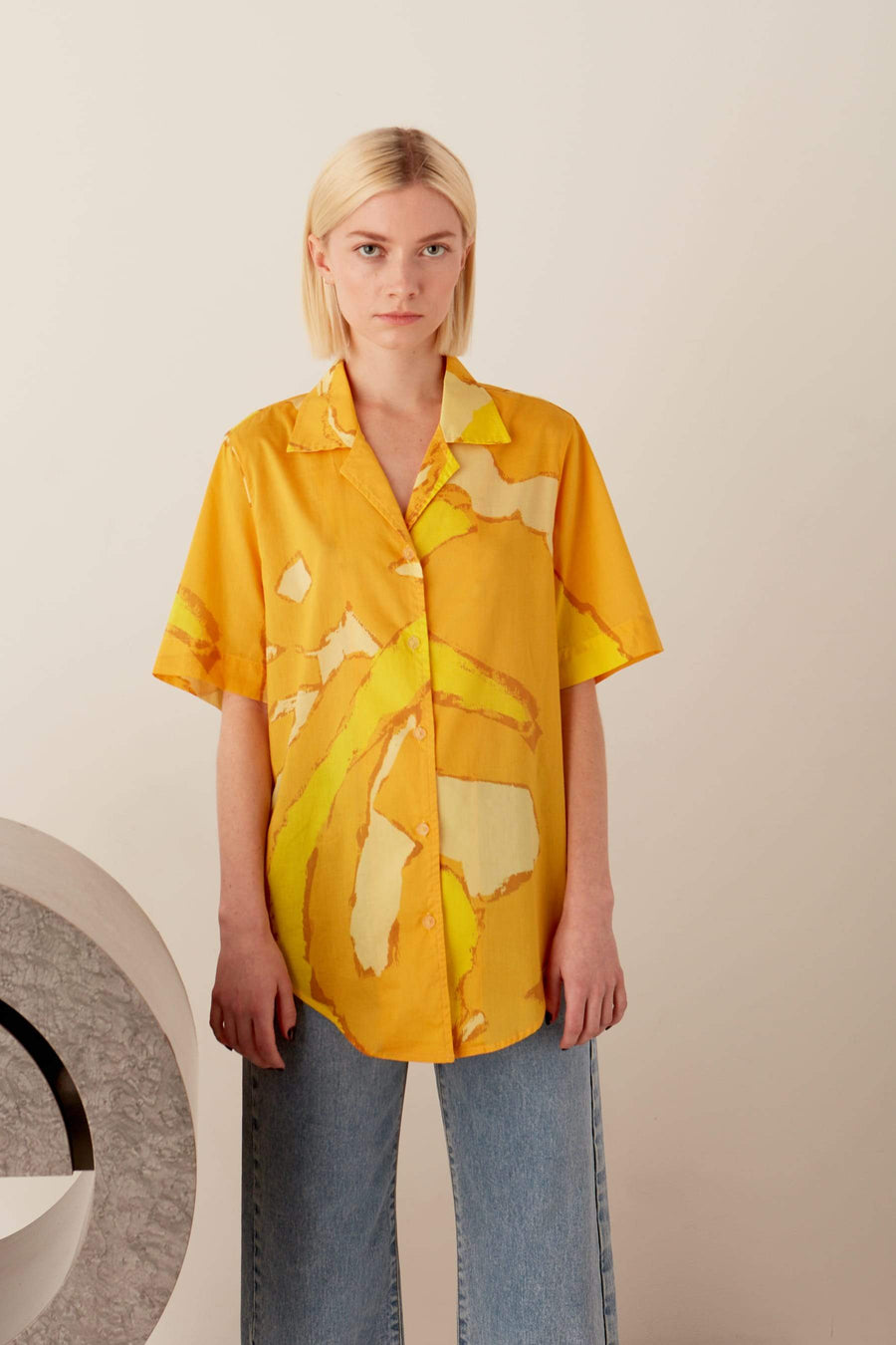 Dade Button Up Shirt in Yellow Abstract Summer Print