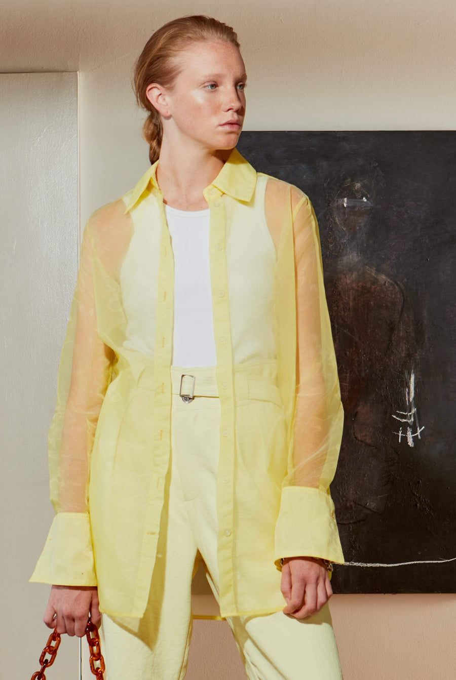 Rowena Button Up Shirt in Sea Lemon