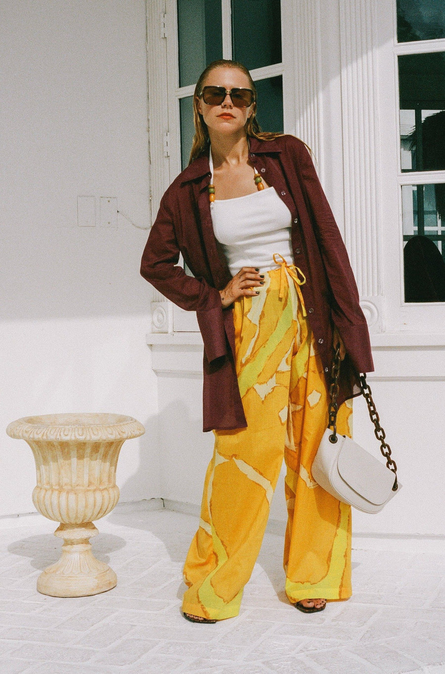 Brickell Drawstring Pant in Yellow Abstract Print