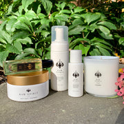Raw Spirit Relax and Unwind Perfume Gift Set.This exclusive set features our popular Moisturizing Antimicrobial Foam, Antimicrobial Hand Lotion, Mystic Pearl Perfume Spray, Mystic Pearl Body Butter, and brand new Wander Candle. The Hand Care Duo includes staple products to keep your hands clean whether on the go or in the comfort of your home.