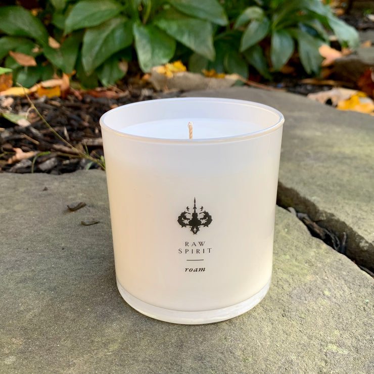 Roam Candle - Coconut Cedar Blossom Scented Candle, 60 Hour Burn Coconut Wax 9 oz