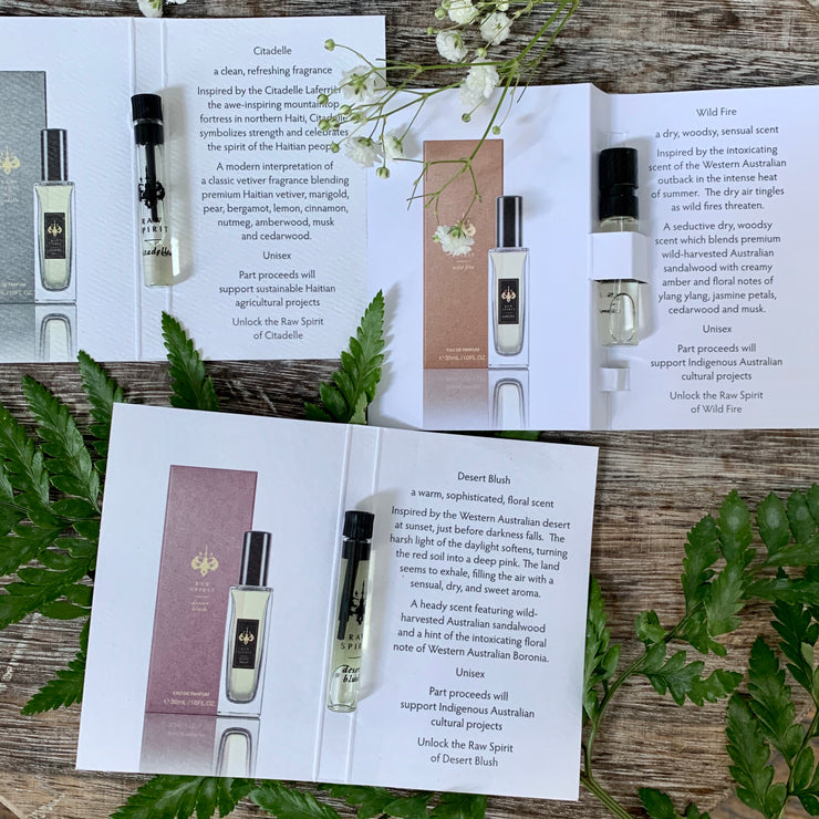 Raw Spirit is the continuation of incredible journeys all over the world, from the Australian outback, to the shores of Bali, to the mountains of Haiti, and beyond.  It is a brand born out of experiencing the unique spirits of some of the world's oldest communities and remote landscapes. Start your own journey by sampling five of our bestselling scents.