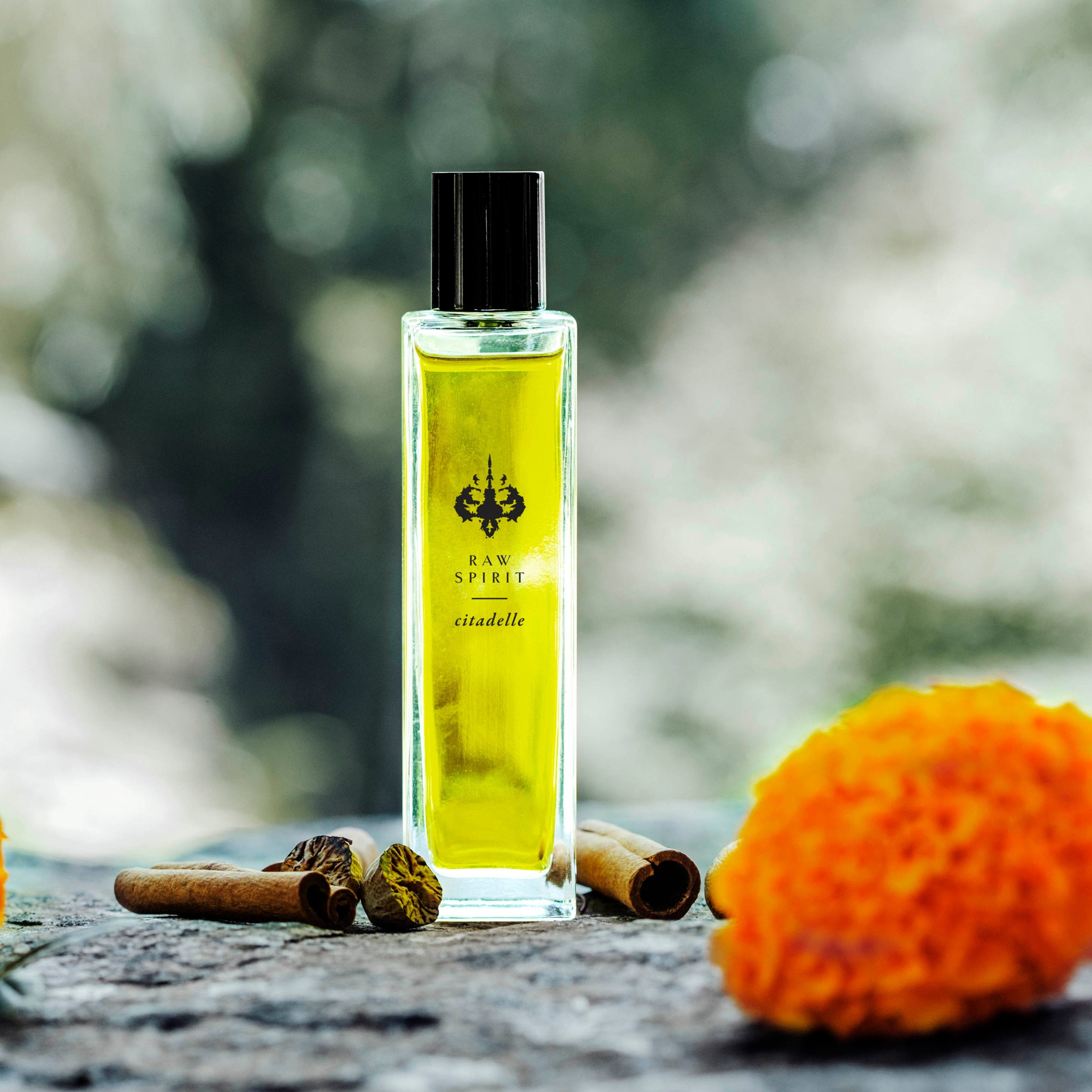 Raw Spirit Citadelle perfume is a fresh, clean, modern interpretation of a classic vetiver fragrance, blending premium Haitian vetiver, marigold, pear, bergamot, lemon, cinnamon, nutmeg, amberwood, musk and cedarwood.