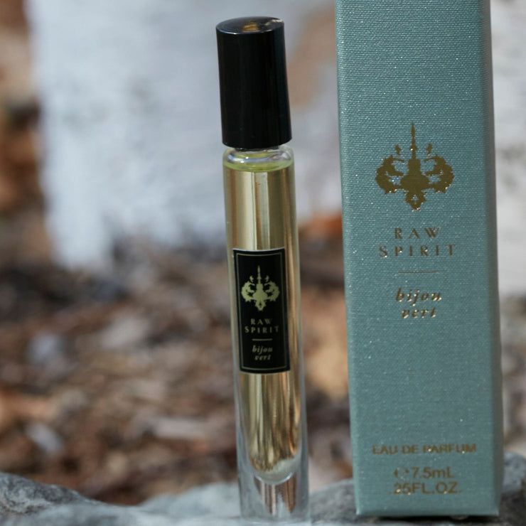 Raw Spirit Fragrances Fresh Rollerball unisex perfume set features Eau de Parfum rollerballs of the fresh, citrus scents Summer Rain and Bijou Vert.