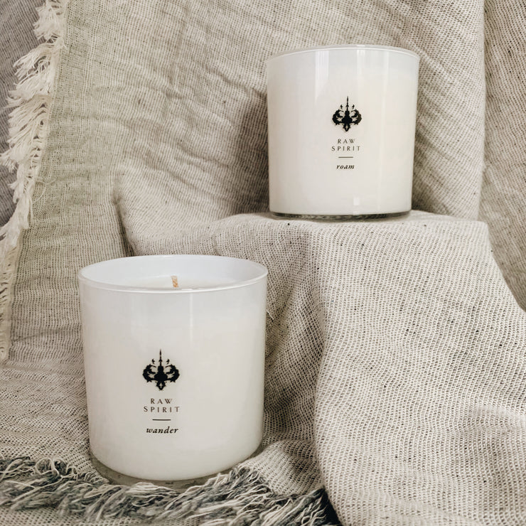 Our clean burning, travel-inspired, scented candles will delight the senses and add freshness and warmth to any room. Hand poured with an all-natural soy and coconut wax blend and formulated without dyes, the collection consists of five unique scents that will transport you to another state of mind.  All waxes are made in the US, have a 100% cotton wick, and help support women refugees and artisans through a partnership with Prosperity Candle.