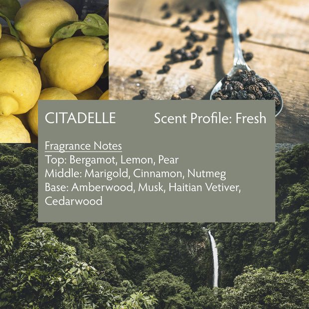 Raw Spirit Citadelle is a fresh, clean, modern interpretation of a classic vetiver fragrance, blending premium Haitian vetiver, marigold, pear, bergamot, lemon, cinnamon, nutmeg, amberwood, musk and cedarwood.