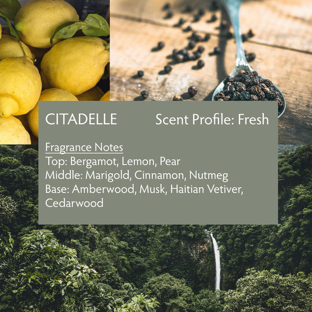 Citadelle is a modern interpretation of a classic vetiver fragrance, blending premium Haitian vetiver, marigold, pear, bergamot, lemon, cinnamon, nutmeg, amberwood, musk and cedarwood.