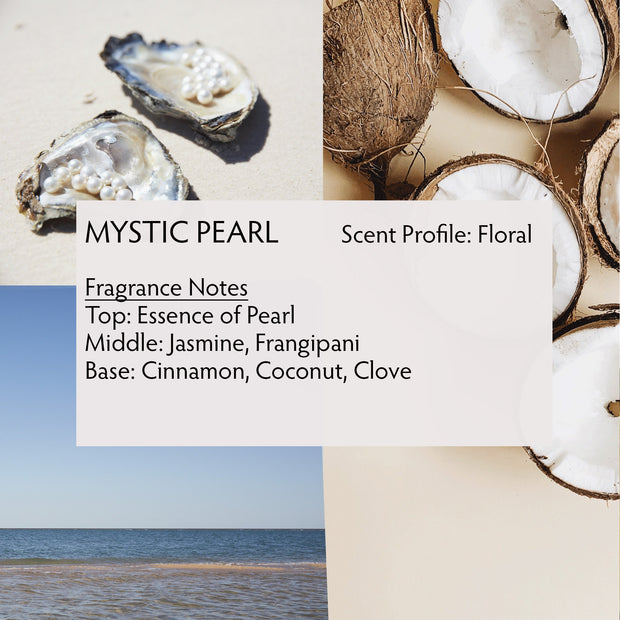 Mystic Pearl Body Butter is a rich floral scented moisturizer with notes of clove, cinnamon, frangipani, and jasmine.