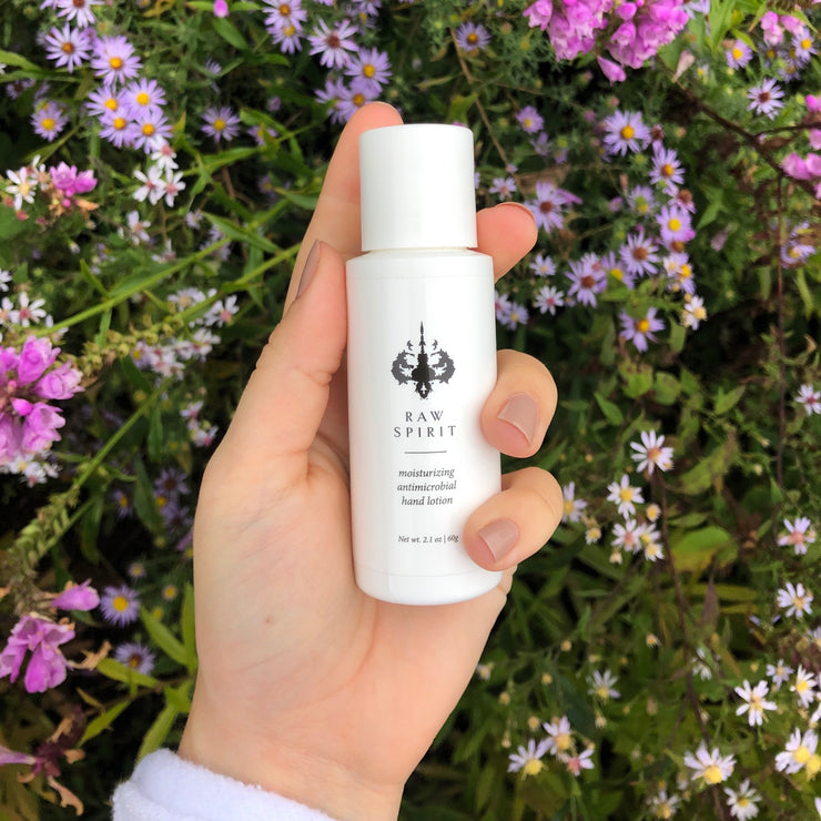 Sanitize and hydrate hands with our Moisturizing Antimicrobial Hand Lotion formulation of probiotics, Geranium, Ginseng, and Moringa Seeds.