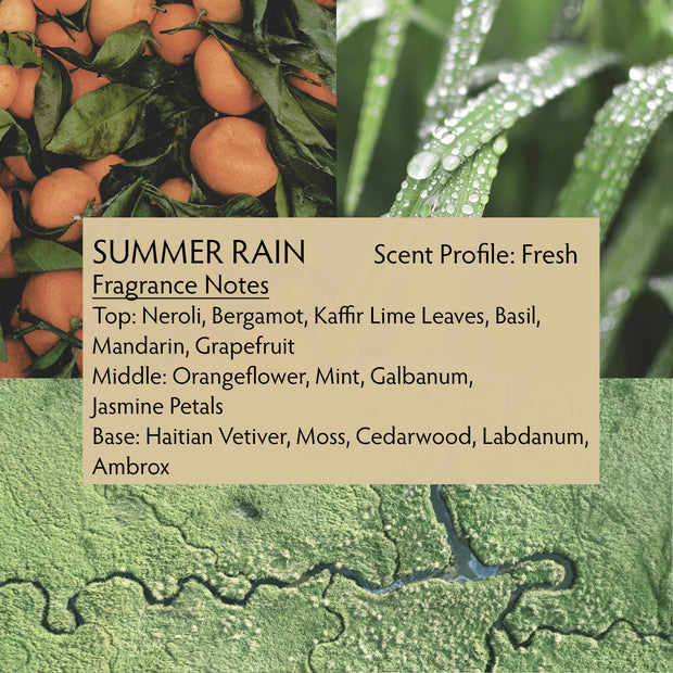 Summer Rain perfume is inspired by summer in the Florida Everglades, when the air is thick with humidity and the afternoon storm clouds build. The summer rain begins, quickly cooling the earth and reviving your spirit.