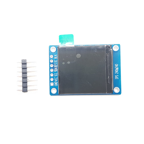 The TFT display provides a semiconductor switch for each pixel and each pixel is directly controlled by pulse. The LCD size is 1.3 inch with the resolution of 240*240.