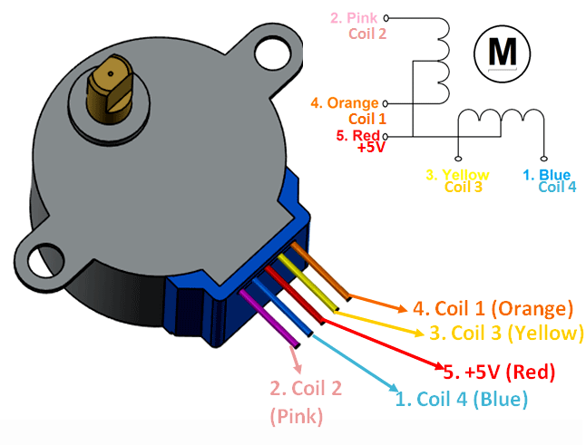 Stepper Motor (12V 4-Phase 5-Wire) - 28BYJ-48 - ThinkRobotics.in