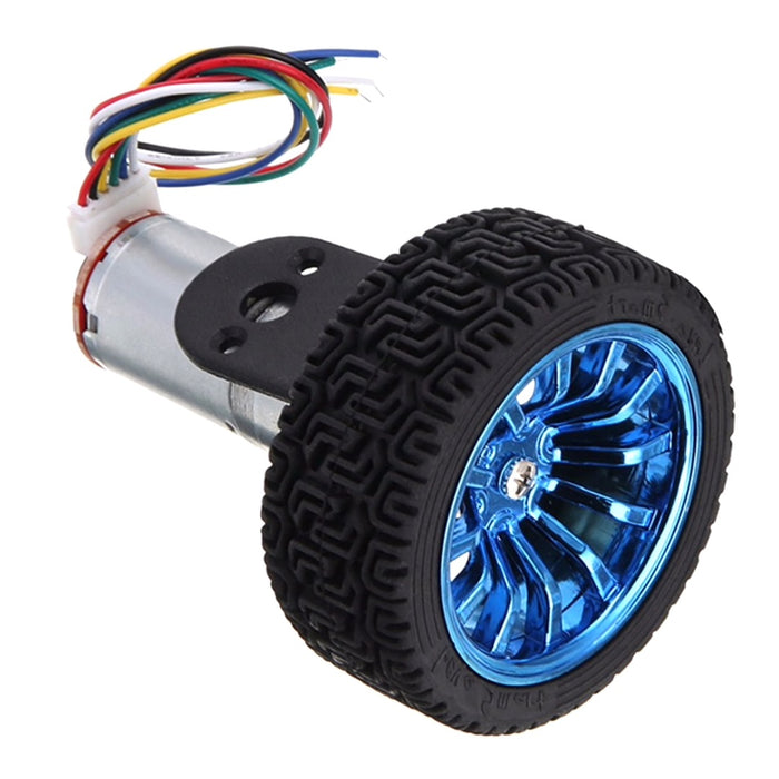 6V 210 RPM Encoder DC Motor and 65mm Wheel Set with Mounting Brackets - ThinkRobotics.in