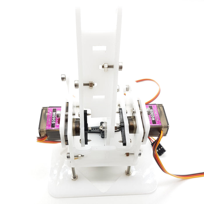 4 DOF white acrylic robotic arm MG90s kit - ThinkRobotics.in