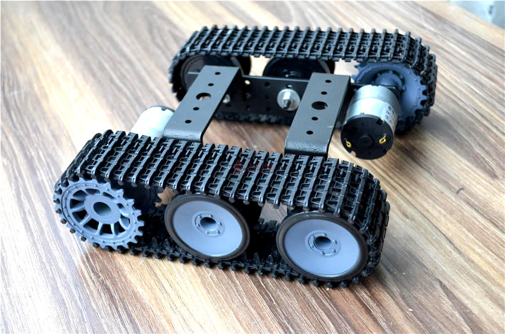 Aluminium Tank Robot Chassis with Dual 12V Motors - ThinkRobotics.in