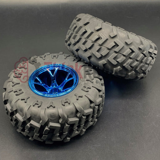 These two large (130mm-diameter) wheels can be used as replacement parts or for custom robots that need to traverse complex, rugged terrain.