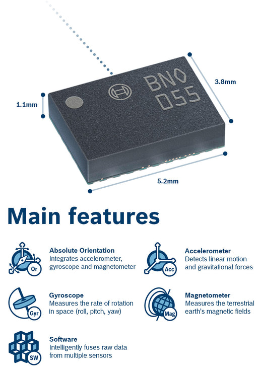 BNO055 9-DOF Absolute Orientation Sensor - ThinkRobotics.in