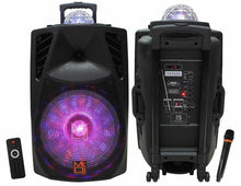 "Load image into Gallery viewer, Mr. Dj PARTY2GO 15"" Portable Speaker with Rechargeable Battery 3000 Watts P.M.P.O, Built-in Bluetooth USB/Micro SD Card"