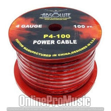 Load image into Gallery viewer, Absolute P4100RD 4-Gauge Spool Power Wire Cable, 100 Feet (Red)