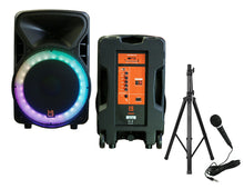 "Load image into Gallery viewer, Mr. Dj OMAHA<BR/> 15"" 2500W Powered PA DJ Karaoke Active Powered Speakers Stands Mic Bundle"