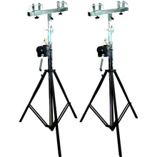 Load image into Gallery viewer, (2) MR DJ ST200 & SBC250<br/> Pro Lighting 10 Foot Crank Light Stand & Square Truss T-Bar Adapte