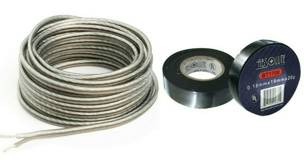 "Absolute US S16G2000 <BR/>16 Gauge 2000 Feet Clear Speaker Wire and 3/4"" x 60' FT Black Electrical Tape"