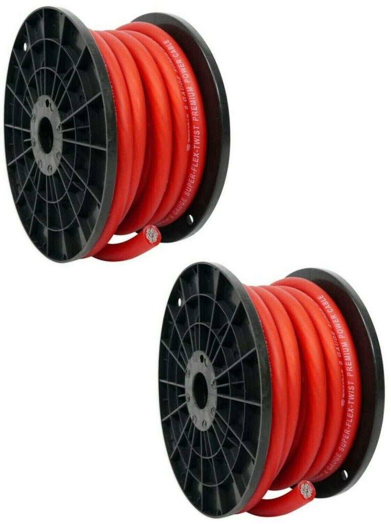 2 Patron SPW-0-50RD<BR/> 1/0 Gauge 50 FT Xtreme Twisted Power/Ground Battery Wire Cables Set Red
