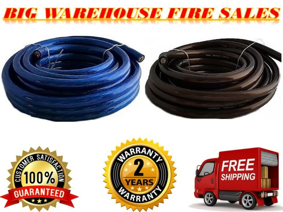 Absolute U.S.A 100 FEET PREMIUM 0 GAUGE 50' BLUE POWER & 50' BLACK GROUND WIRE CABLE MARINE CAR