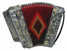 Load image into Gallery viewer, ROSSETTI ACCORDION 34 BUTTON 3 SWITCH GCF SOL 12 BASS ACCORDEON GREY + CASE