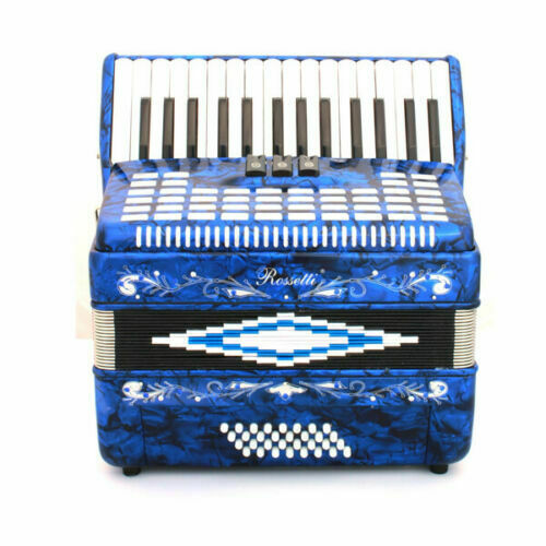Rossetti Piano Accordion 32 Bass 30 Piano Keys 3 Switches Blue